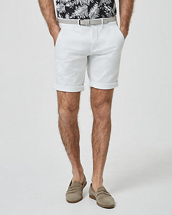 Short à ceinture en sergé de coton
