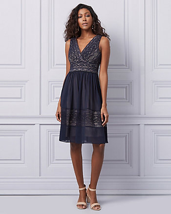 Lace Fit & Flare Wrap Dress