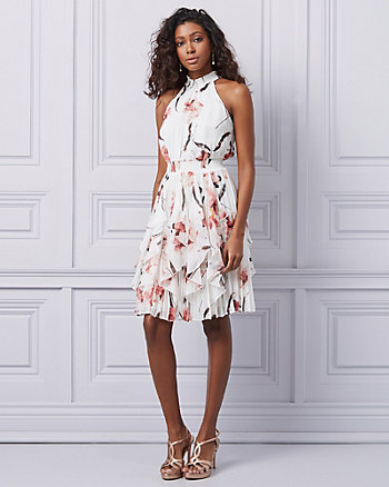Floral Chiffon Halter Neck Ruffle Dress