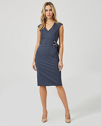 Ponte Knit V-Neck Dress