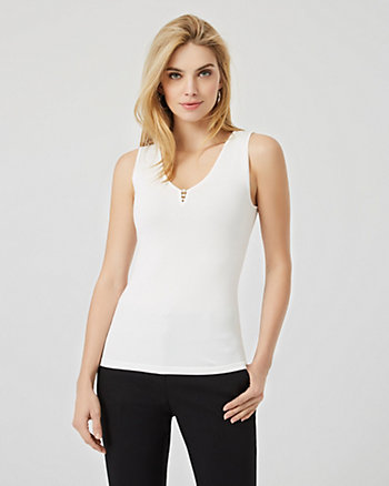 Pearl Trim V-Neck Sleeveless Sweater