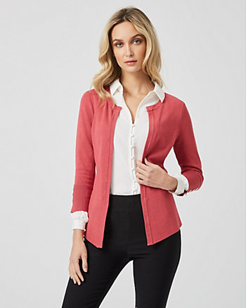 Viscose Blend Open Front Cardigan
