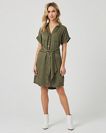 Challis Tie Front Shirtdress