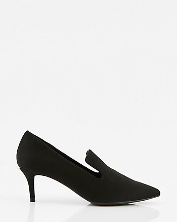 Faux Suede Pointy Toe Loafer Pump