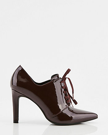 Patent Pointy Toe Oxford Boot