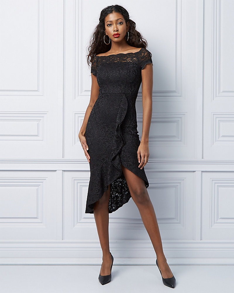 a32c6edfcc1f16 Lace Off-the-Shoulder Ruffle Dress