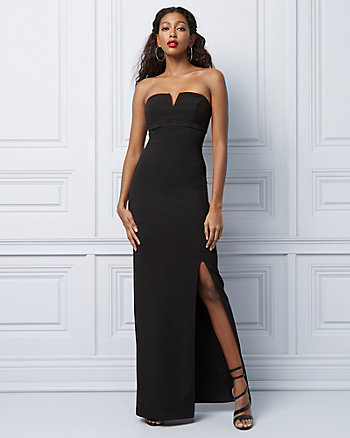 Pebbled Knit Sweetheart Gown