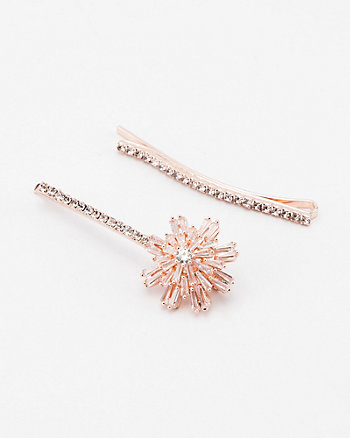Set of Two Flower Gem Bobby Pins