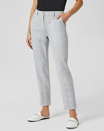 Windowpane Check Print Slim Leg Trouser