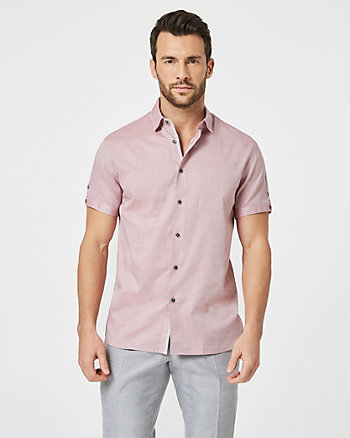 Tonal Cotton Tailored Fit Short Sleeve Shirt