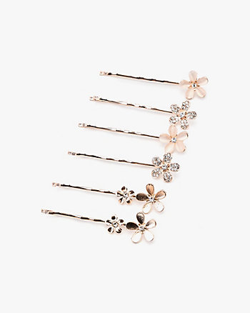 Set of Six Gem Flower Bobby Pins