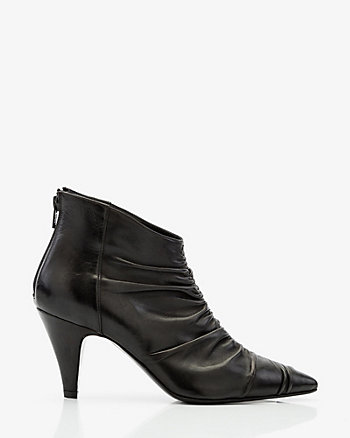 Italian-Made Leather Ruched Ankle Boot