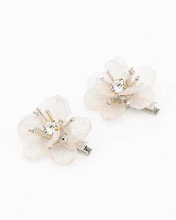 Set of Two Gem Flower Hair Clip