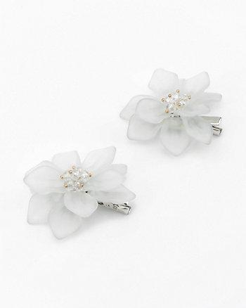 Set of Two Beaded Flower Hair Clip