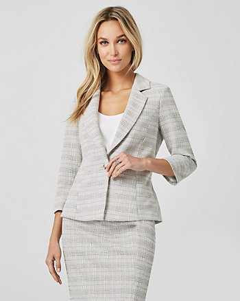 Check Print Double Knit Tailored Blazer