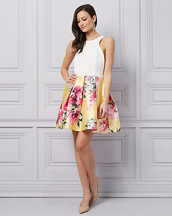 Floral Print Twill Fit & Flare Cocktail Dress