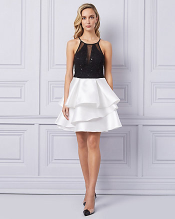 Lace & Knit Fit & Flare Cocktail Dress