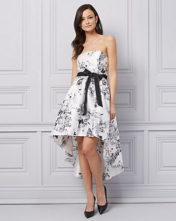 Floral Print Twill Strapless Cocktail Dress