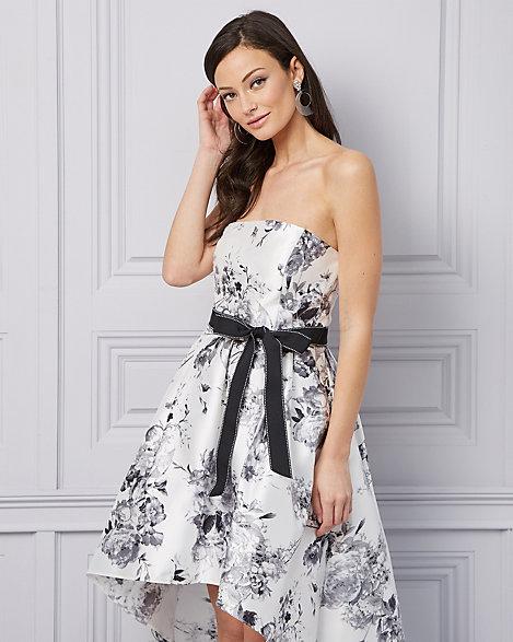 285b39e1709 Floral Print Twill Strapless Cocktail Dress