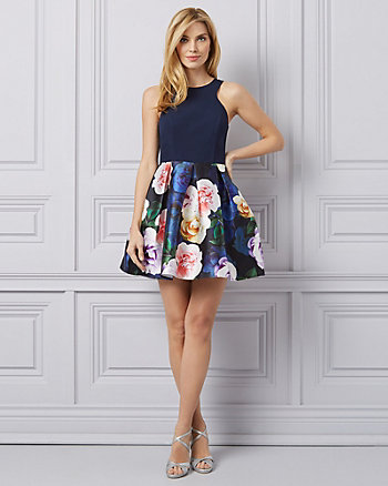 Floral Print Knit & Satin Halter Neck Dress