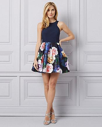 Floral Print Knit & Satin Halter Neck Dress