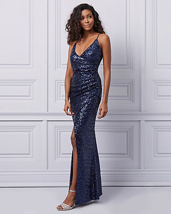 Sequin V-Neck Wrap Dress