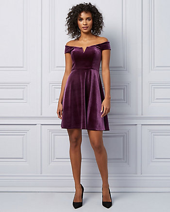 Velvet Off-The-Shoulder Fit & Flare Dress