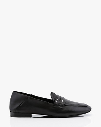 Studded Leather Collapsible Back Loafer