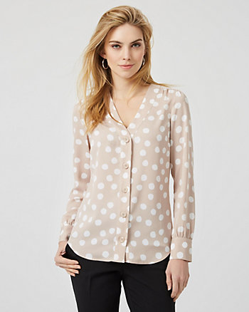 Dot Print Crêpe Button Front Long Sleeve Blouse