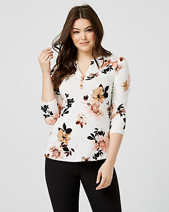 Floral Print Jersey & Lace 3/4 Sleeve Top