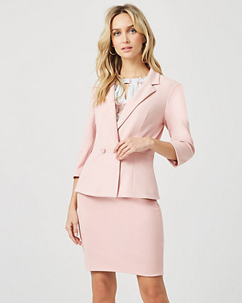 Knit Crêpe Double Breasted Peplum Blazer