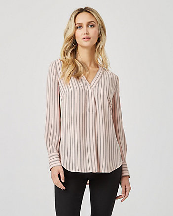 Stripe Crêpe de Chine V-Neck Blouse