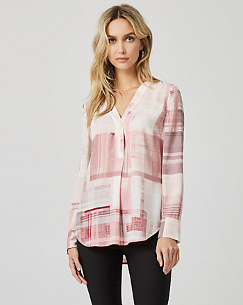 Check Print Crêpe de Chine V-Neck Blouse