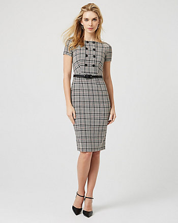 Check Print Belted Sheath Dress