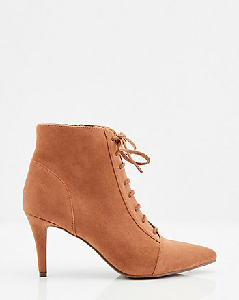 Faux Suede Pointy Toe Lace-Up Shootie
