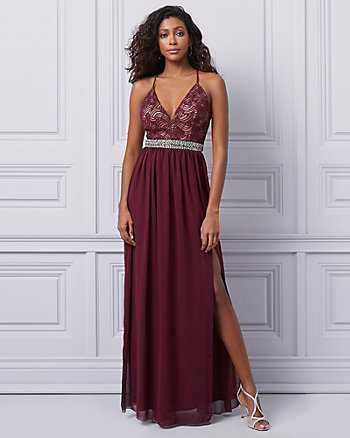 Chiffon and Lace Fit & Flare Gown