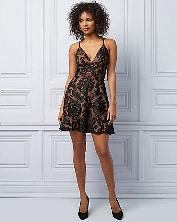 Lace & Knit V-Neck Racer Back Dress