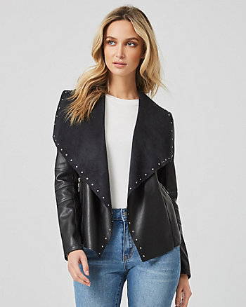 Faux Leather Studded Waterfall Jacket