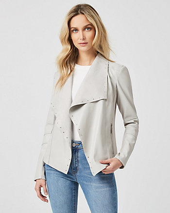 Leather-Like Studded Waterfall Jacket