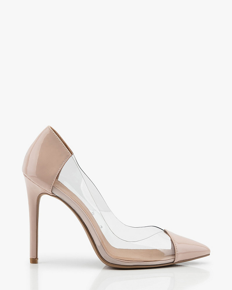 Patent Pointy Toe Transparent Pump