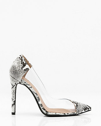 Snake Embossed Pointy Toe Transparent Pump