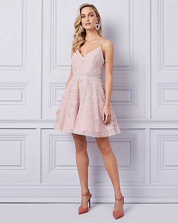 Embellished Mesh High-Low Dress