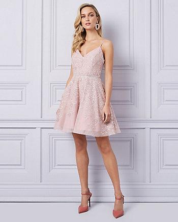Embellished Mesh High-Low Dress