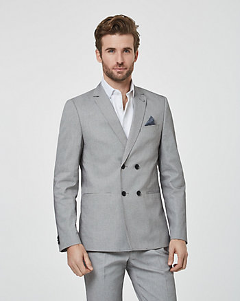 Twill Slim Fit Double Breasted Blazer