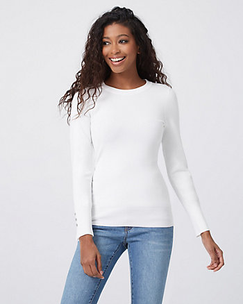 Studded Viscose Blend Crew Neck Sweater