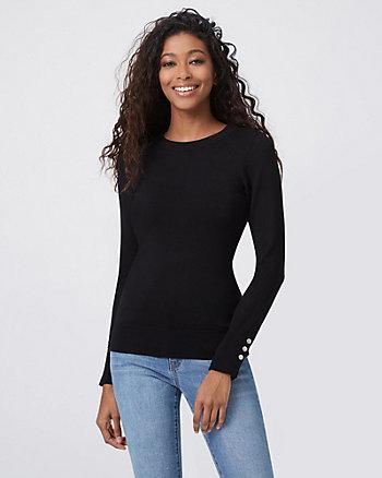 Studded Viscose Blend Crew Neck Sweater