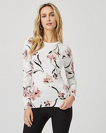 Floral Viscose Blend Crew Neck Sweater
