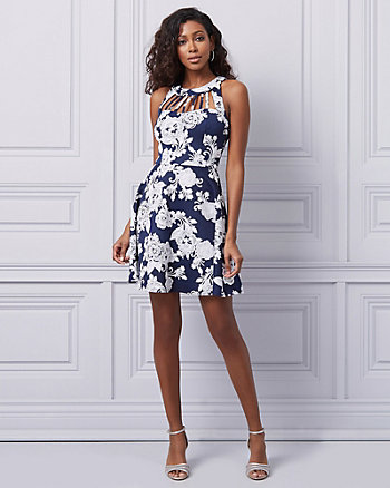 Floral Print Scuba Knit Cocktail Dress