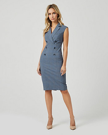 Check Print Double Breasted Blazer Dress