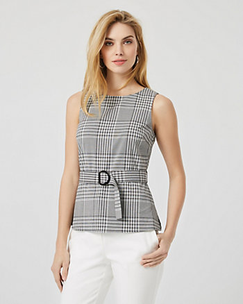 Check Print Sleeveless Peplum Blouse
